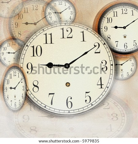 illustration of clock faces with texture