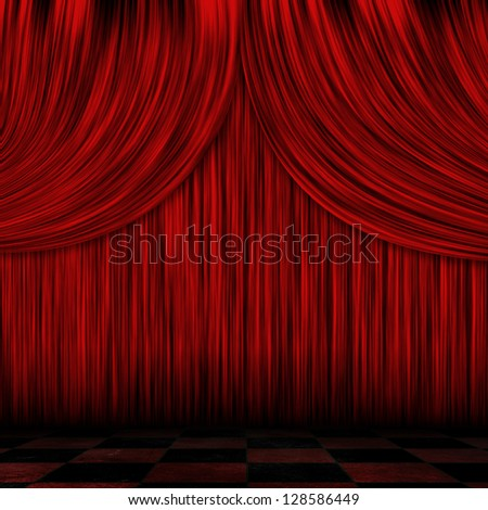 Illustration of close view of a theater red curtain background. - stock photo