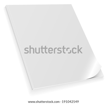 Illustration of closed blank magazine with curled cover isolated on white background. - stock photo