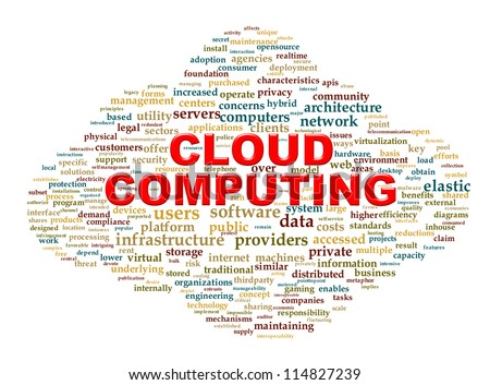 Illustration of cloud computing technology word tags wordcloud - stock photo