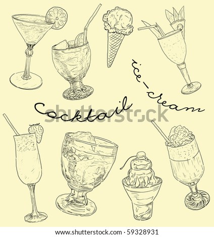Illustration of cocktails and ice-cream - stock photo