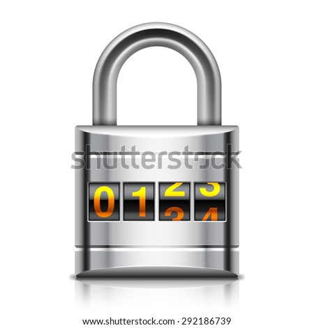 Illustration of coded padlock on white background - stock photo