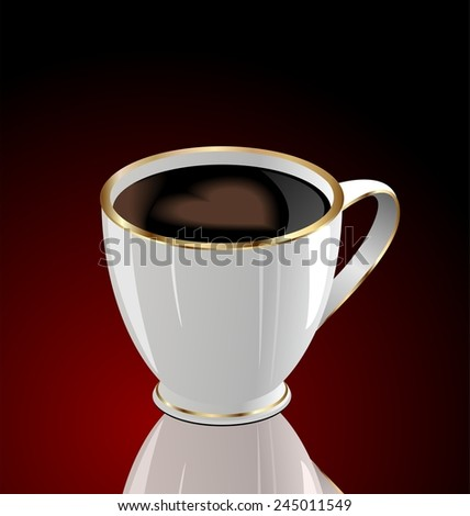 Illustration of coffee cup with love heart on dark red background - raster - stock photo