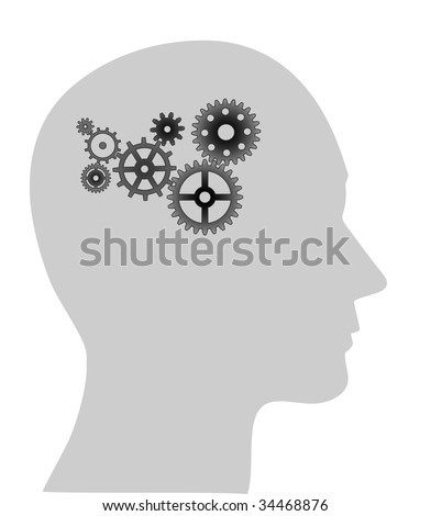 Illustration of cogs or gears in human head, (jpg)