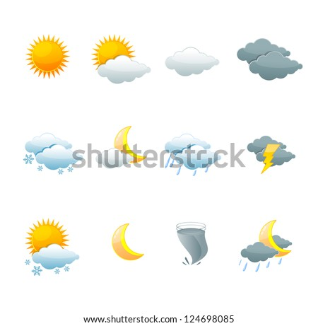 illustration of collection weather forecast icons - stock photo