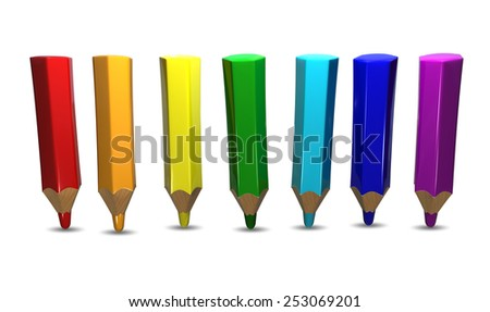 Illustration of Colored Pencils on White Background