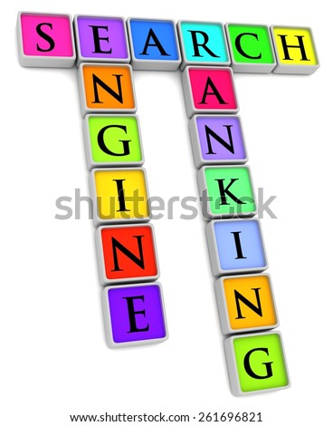 Illustration of colored tiles with the words Search, Engine and Ranking - stock photo