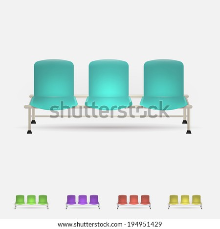 Illustration of colored waiting benches. Set of triple colored waiting benches. Five illustrations isolated on white. - stock photo