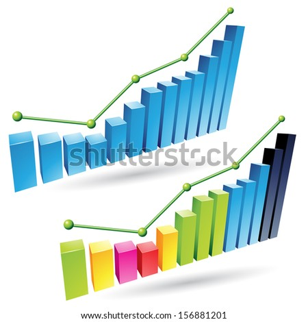 illustration of colorful 3d stat bar graphs - stock photo