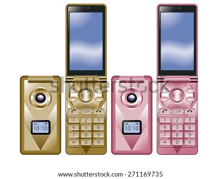 Illustration of colorful Flip Phone. / Gold, Pink. - stock photo