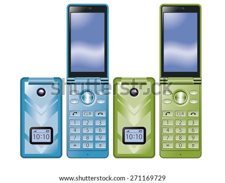 Illustration of colorful Flip Phone. Simple design./ Blue, Green. - stock photo