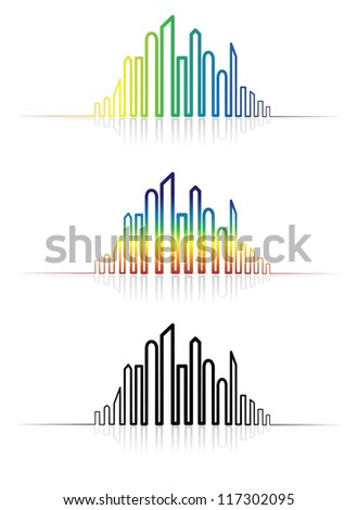 Illustration of colorful metropolitan city sky-scape icons and shapes. The graphic is created using line to outline the downtown skylines in rainbow colors and in black & white with reflections.