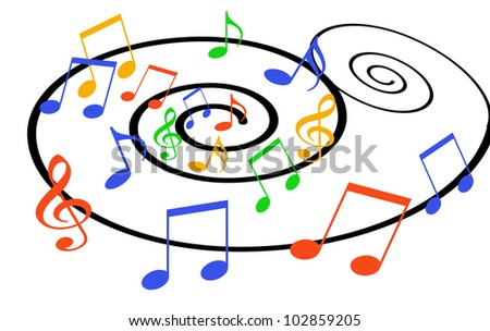 illustration of colorful musical notes revolving on a spiraling musical staff