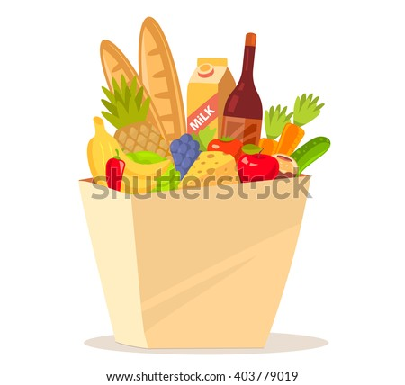 illustration of colorful natural products in bag on white background. Art design for web, site, advertising, banner, poster, flyer, brochure, board, paper print. Eco food. Natural food.