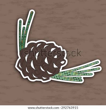 illustration of colorful pinecone. Pop-art  Image for design. - stock photo