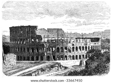 "Illustration of Colosseum in Rome. Originally published in swedish book ""Historisk lasebok"" published in 1882, the image is currently in public domain."