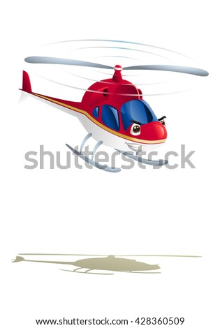 illustration of commercial red helicopter on isolated white background