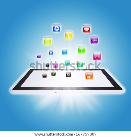 Illustration of communication technologies. Tablet PC and Internet
