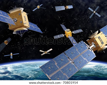 Illustration of competing satellites in orbit around the earth - stock photo