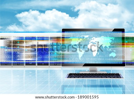 Illustration of computers browsing through websites with fast internet connection - stock photo