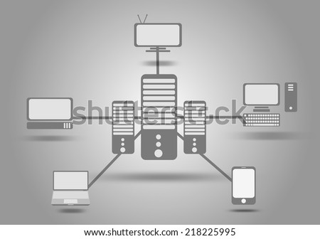 Illustration of Concept of cloud computing service. - stock photo
