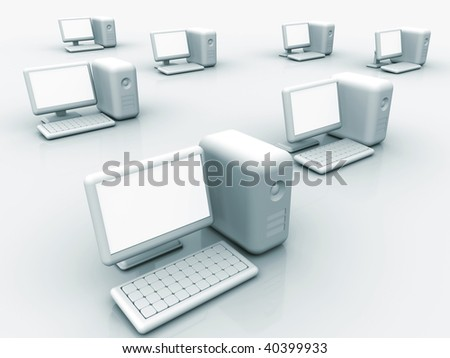 Illustration of conceptual computers network  - 3d render