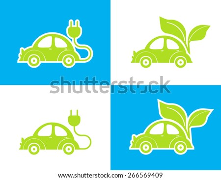 illustration of conceptual electro car green icon on white and blue background - stock photo