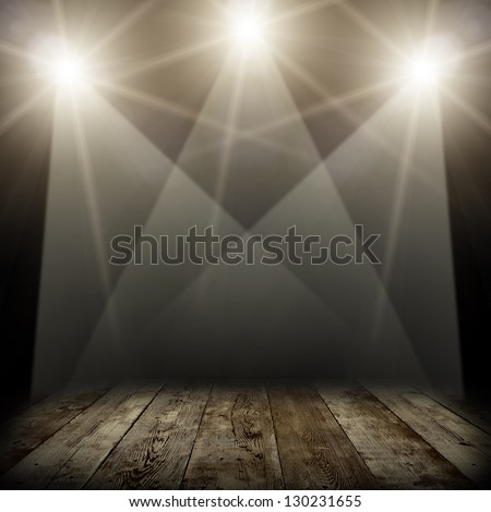 illustration of concert spot lighting over dark background and wood floor - stock photo