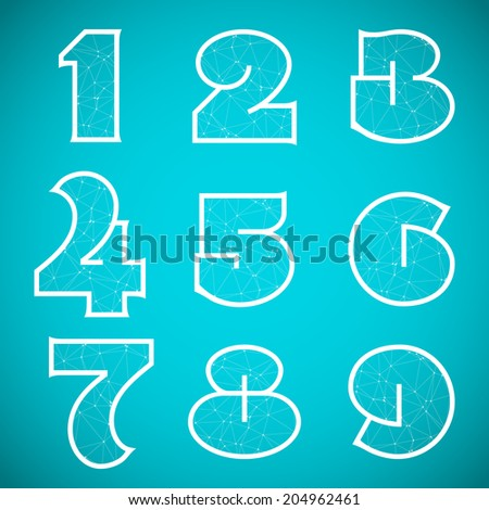 Illustration of Connections Alphabet Font Set 4 Numbers 1 to 9 - stock photo
