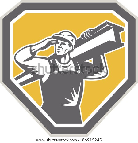 Illustration of construction steel worker carrying i-beam girder viewed from front saluting set inside shield crest done in retro woodcut style.