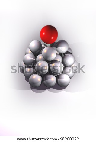 illustration of contained white spheres and a red sphere in the first place