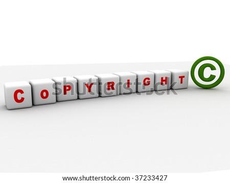 illustration of copyright symbol on white background - stock photo