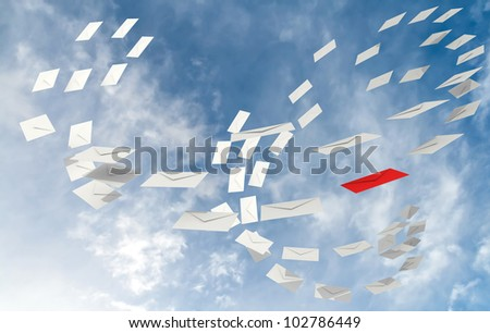 Illustration of correspondence e-mail concept with white envelopes stream and one red - stock photo