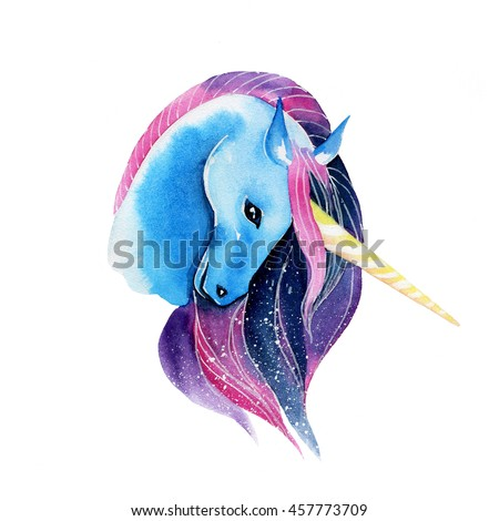 Illustration of cosmic watercolor unicorn on white background