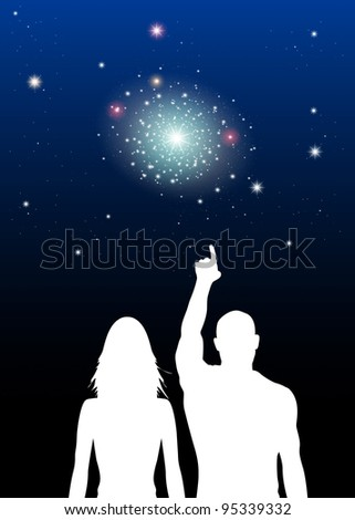 Illustration of Couple at Star sighting - stock photo