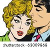 Illustration of couple of lovers, drawn with old comic style - stock photo