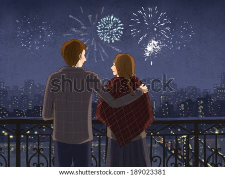Illustration of couple watching fireworks - stock photo