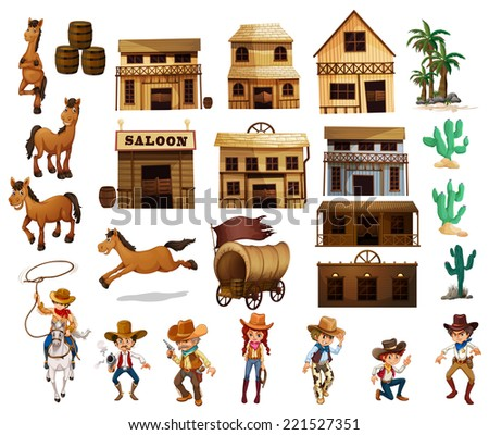 Illustration of cowboys and buildings - stock photo