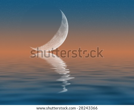 Illustration of crescent Moon reflecting in water - stock photo