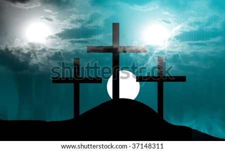 Illustration of crosses in a hill in sunset