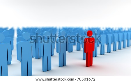 Illustration of crowd of blue men with one red