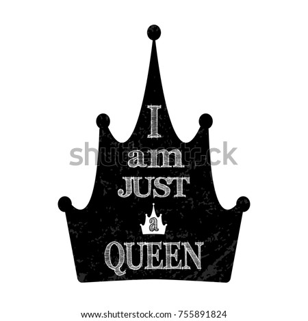 Illustration Crown Just Queen Text Crown Stock Illustration