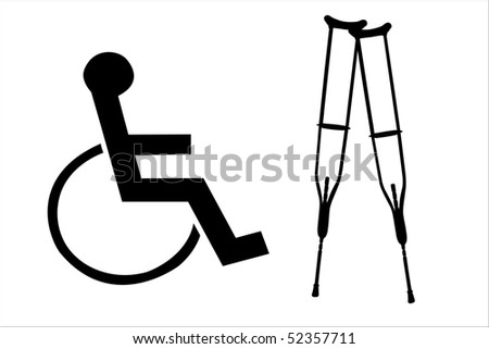 illustration of crutches and wheelchair silhouettes - stock photo