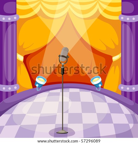 illustration of curtain and microphone on a stage - stock photo