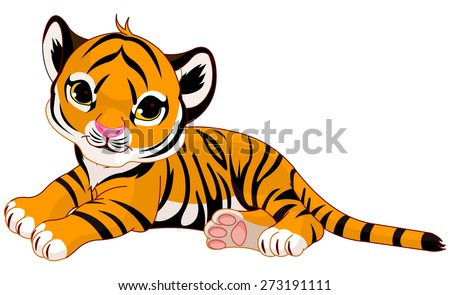 Illustration of cute baby tiger lies - stock photo