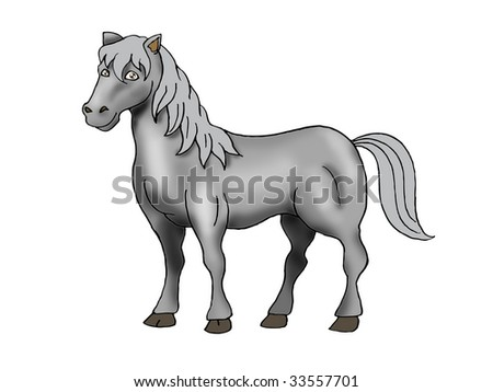 illustration of Cute black Horse