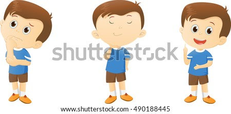 Illustration Of Cute Cartoon Boy Thinking