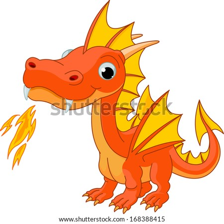 Illustration of Cute Cartoon fire dragon. Raster version.  - stock photo
