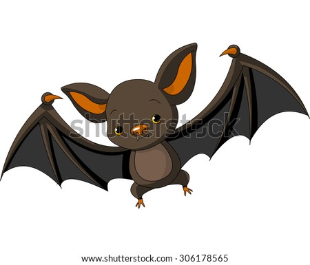 Illustration of cute cartoon Halloween bat flying - stock photo