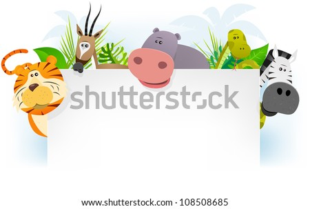 Illustration of cute cartoon wild animals from african savannah,  including tiger, gazelle, snake, zebra and hippo with jungle background - stock photo